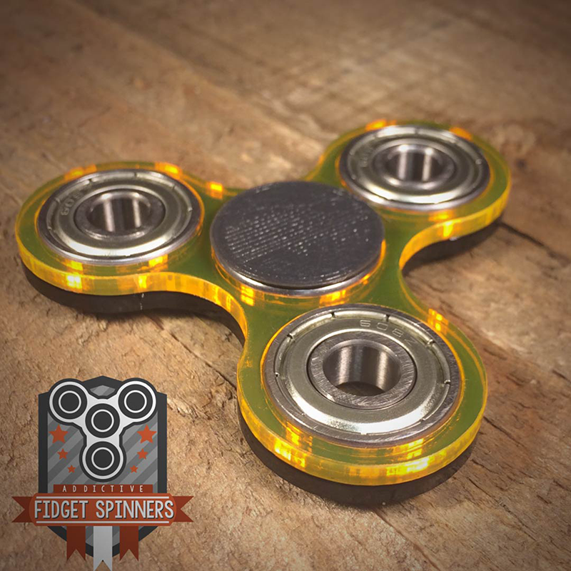 Double Color Acrylic EDC Spinner Tri Bar Fidget Toy With Caps
