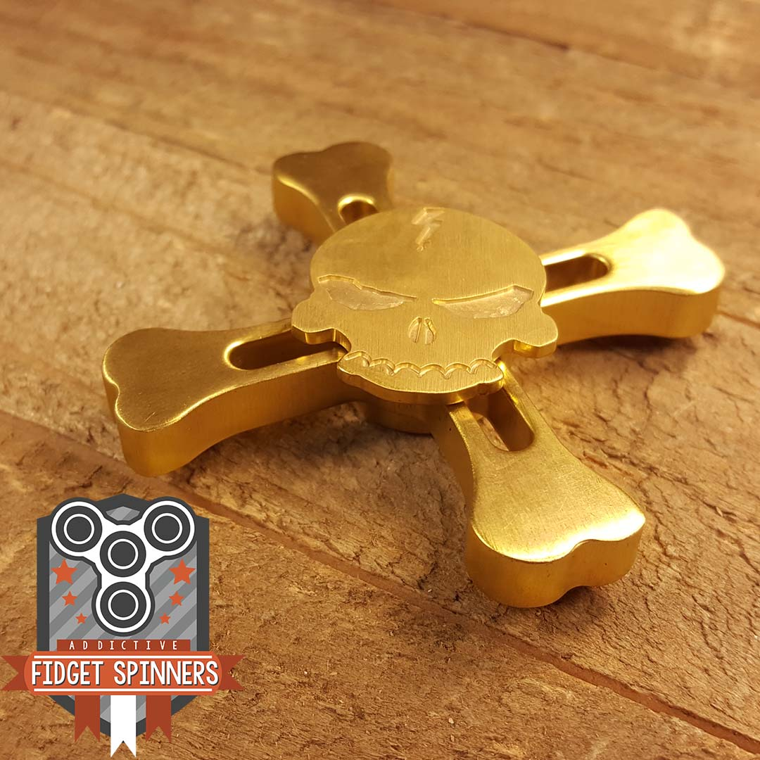 Brass Skull And Crossbones Fidget Spinner