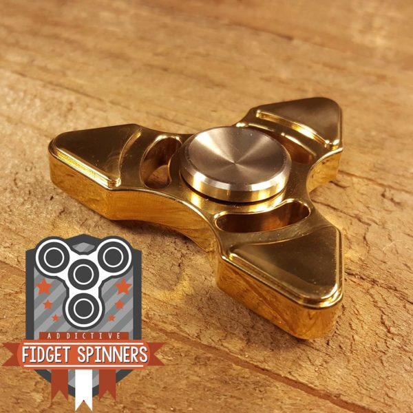 Brass Triangular Tri Fidget Spinner With Stainless Steel Caps